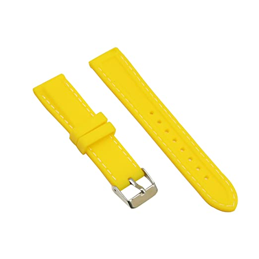 Silicon Yellow Watch Bands Replacements 18mm With White Line Stainless Steel Buckle for Smart Watches