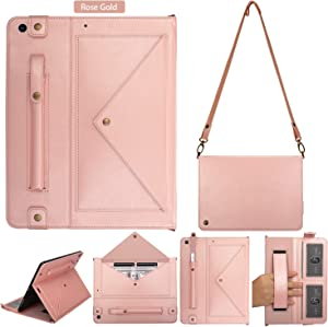 iPad 10.2 Case, iPad 8th Case 2020, iPad 7th Case 2019, Premium PU Leather Heavy Duty Case with Card Slots, Kickstand, Money Pocket, Shoulder Strap, Hand Strap, Pencil Holder for iPad 10.2 (Rose Gold)