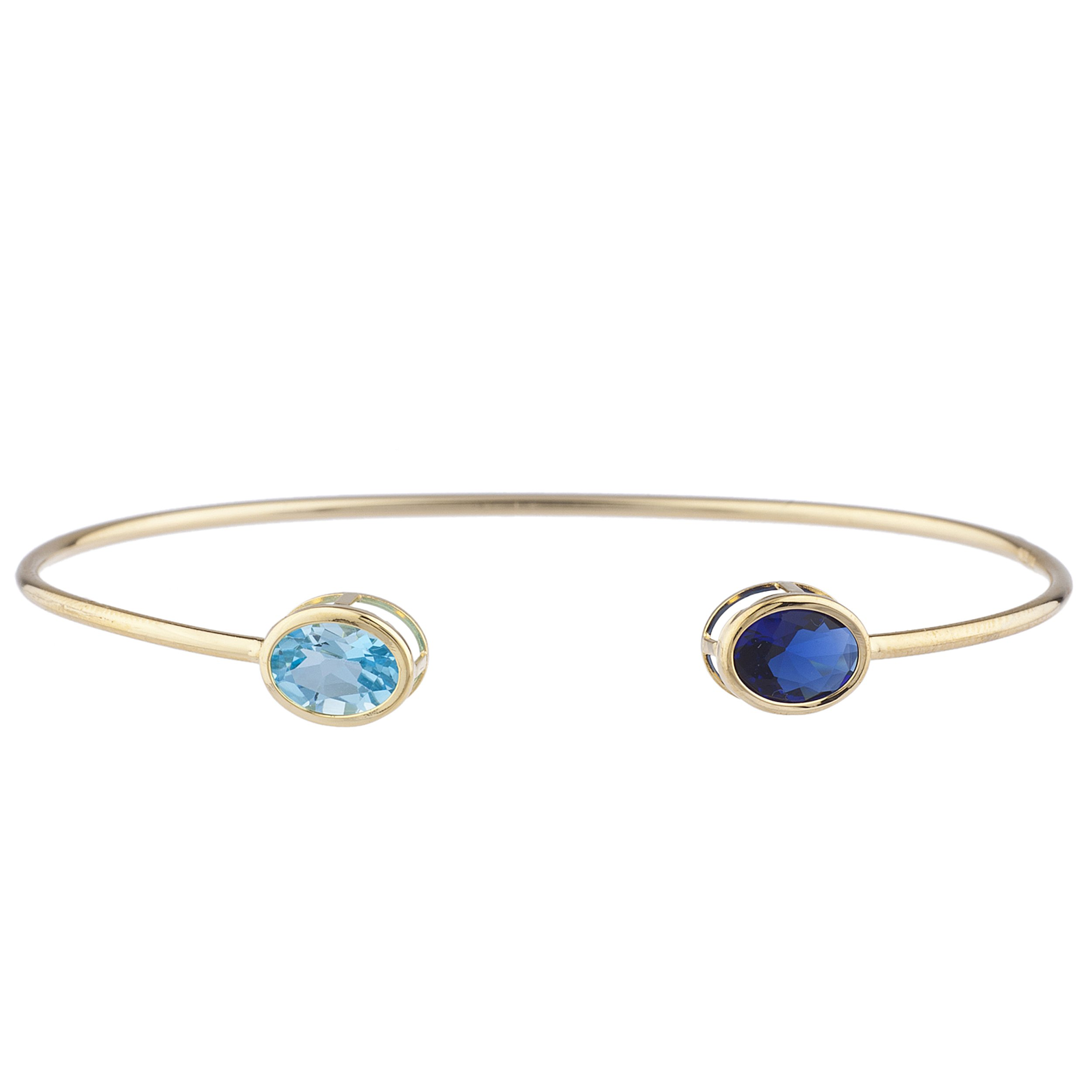Elizabeth Jewelry Created Blue Sapphire & Simulated Blue Topaz Oval Bezel Bangle Bracelet 14Kt Yellow Gold Plated Over .925 Sterling Silver by Elizabeth Jewelry