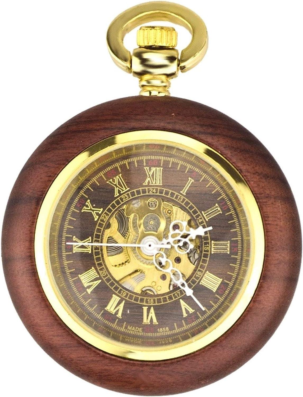 Reloj de bolsillo clásico Reloj de bolsillo de caoba mecánico automático de los hombres y las mujeres clásicos retro ahuecado hacia fuera el reloj del collar antiguo Reloj de bolsillo Vintage Para Hom