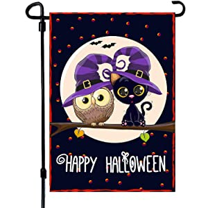 VIEKEY Halloween Garden Flag 12 x 18 Inches Printing Double Readable 2 Layer Fabric Halloween House Flag Increase The Festive Atmosphere