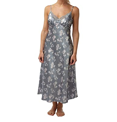 Image Unavailable. Image not available for. Colour  Chain Store Luxury Long  Silver Satin Floral Chemise Sizes 8 ... 56156ed3d