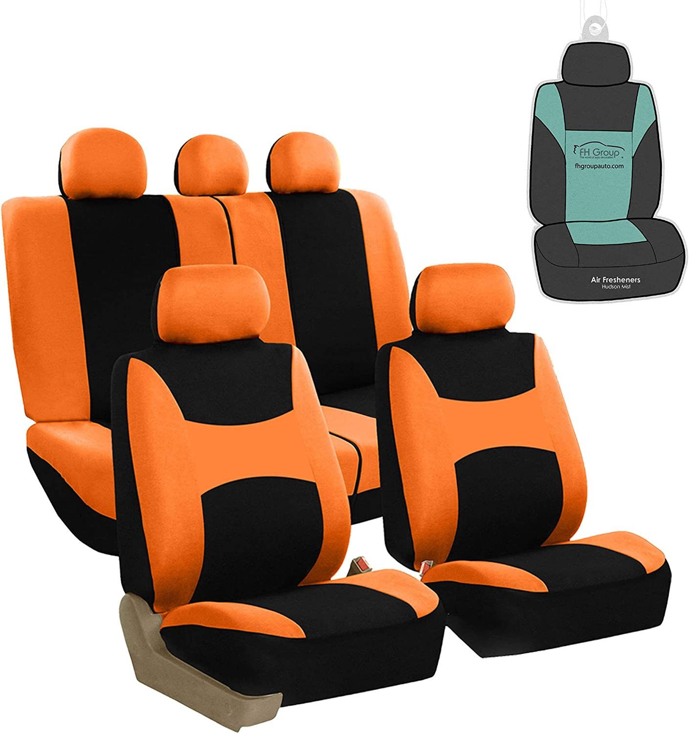 FH Group FB030115 Light & Breezy Flat Cloth Full Set Car Seat Covers Set, Airbag & Split Ready w. Gift, Orange/Black- Fit Most Car, Truck, SUV, or Van