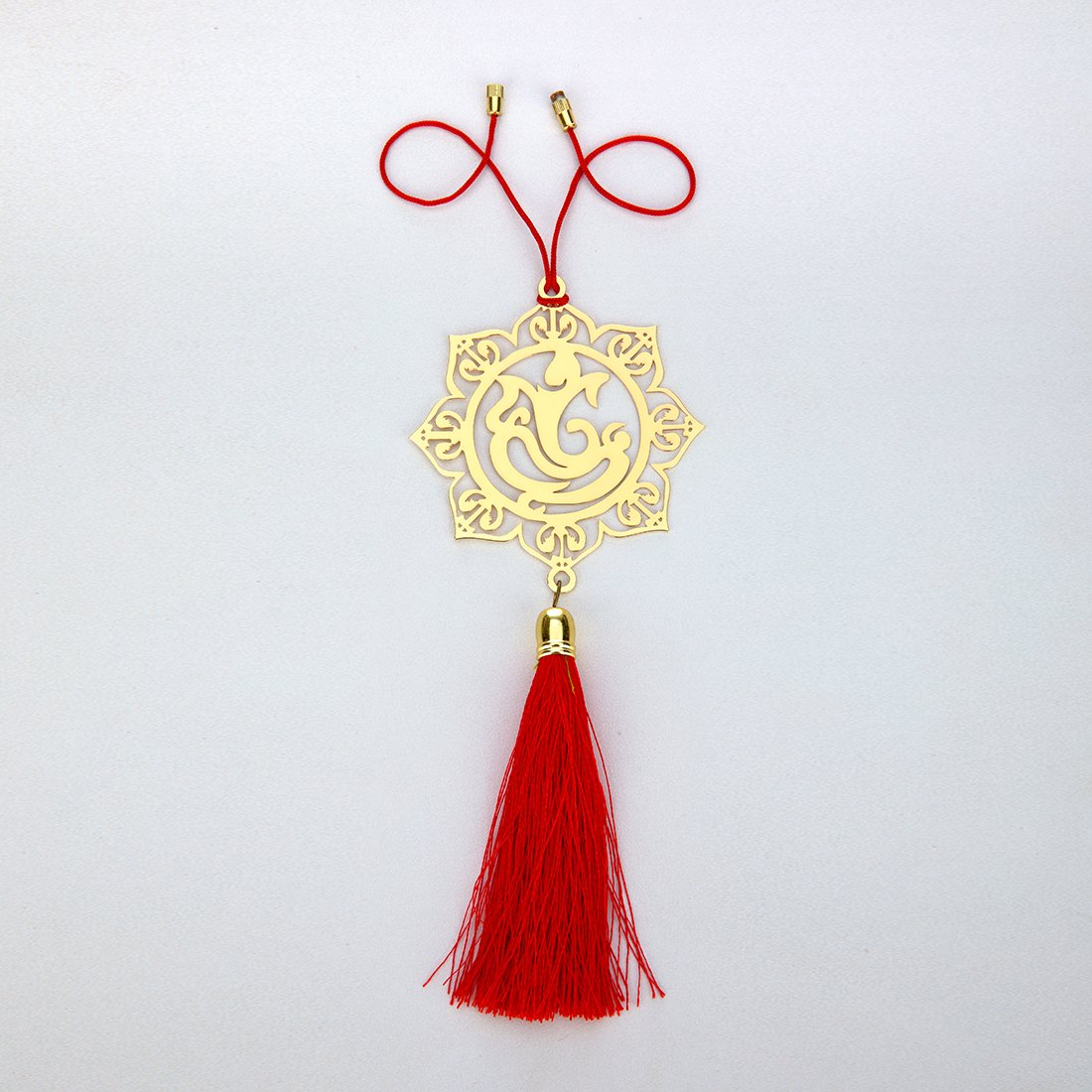 ADORAA's Ganesha Ganpati Rear View Mirror Car Hanging Ornament/ Perfect Car Charm Pendant/Amulet - Accessories for Car Dé cor in Brass for Divine Blessings & Safety/Protection Transcending Horizons Pvt Ltd THCH27000001