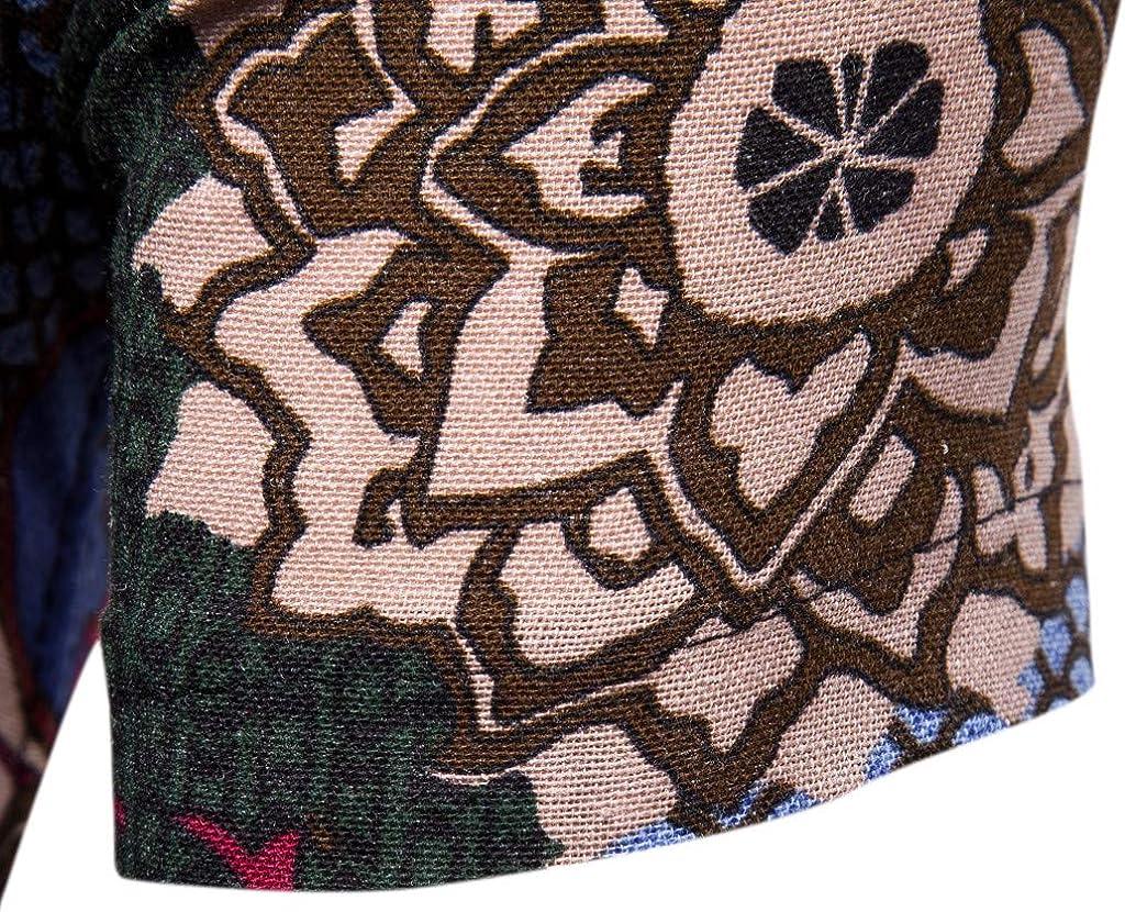 Inforin Mens Stitching Color Pattern Printing Lapel Printing Short Sleeve Blouse Shirt