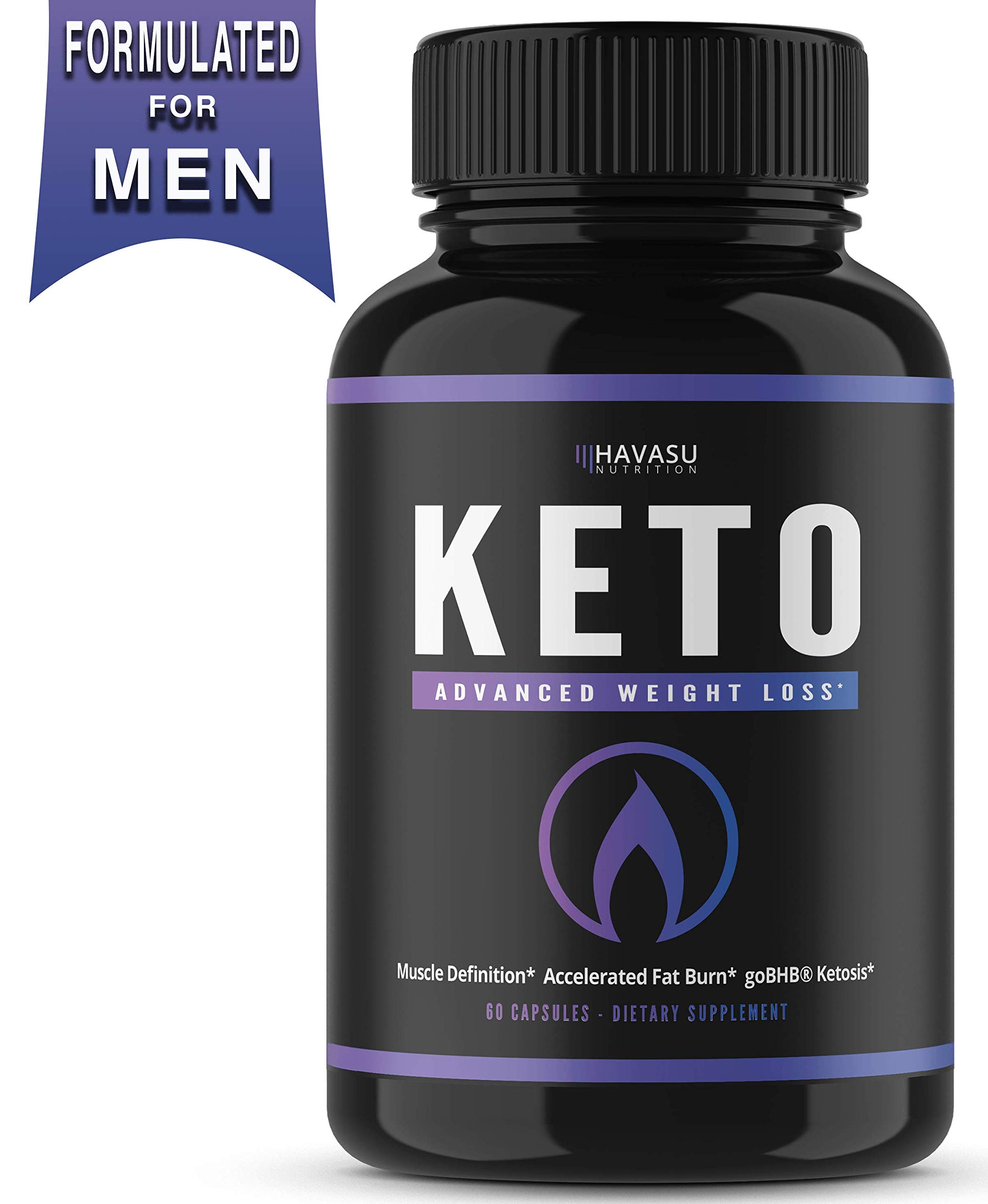 Havasu Nutrition Men's Fat Burner with BHB Exogenous Salts - Weight Loss Pills - Formulated to Provide Optimal Ketosis, Suppress Appetite & Boost Energy - Patented BHB, Non-GMO, 60 Capsules by Havasu Nutrition