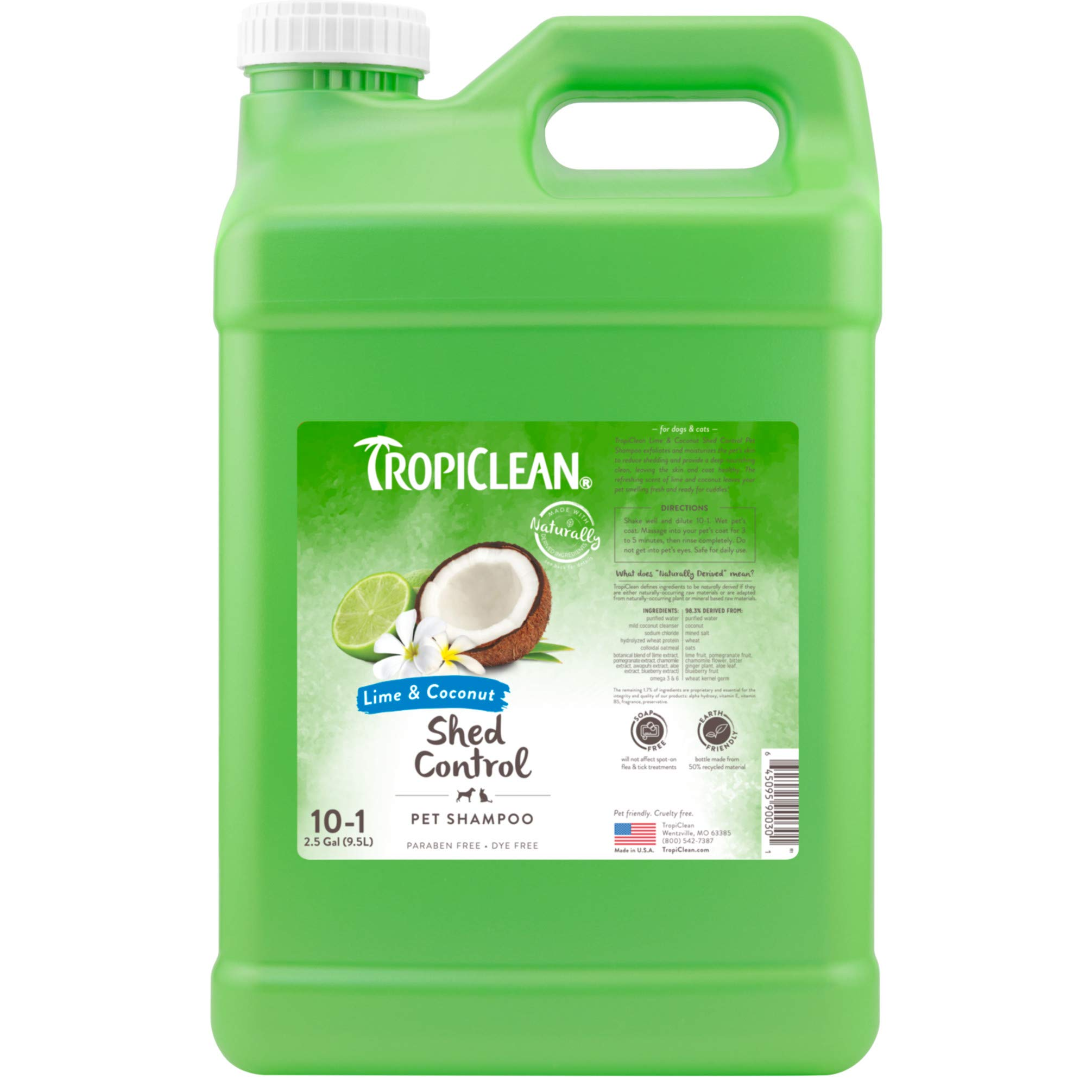 TropiClean Lime & Coconut Shed Control Shampoo for Pets, 2.5 gal, Made in USA by TropiClean