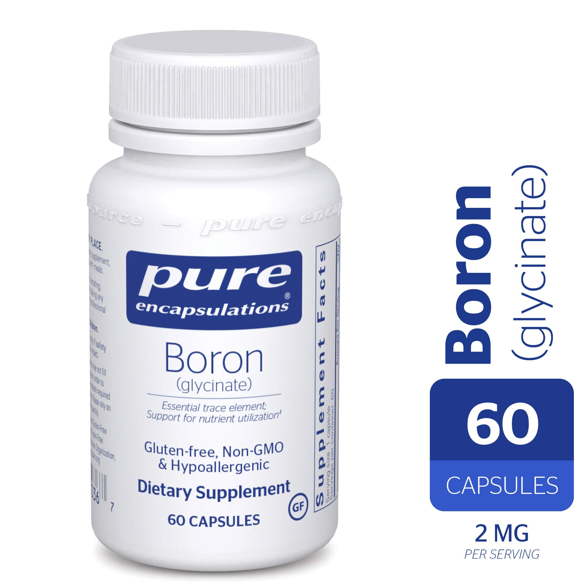 Pure Encapsulations - Boron (Glycinate) - Hypoallergenic Supplement for Healthy Nutrient and Hormone Utilization