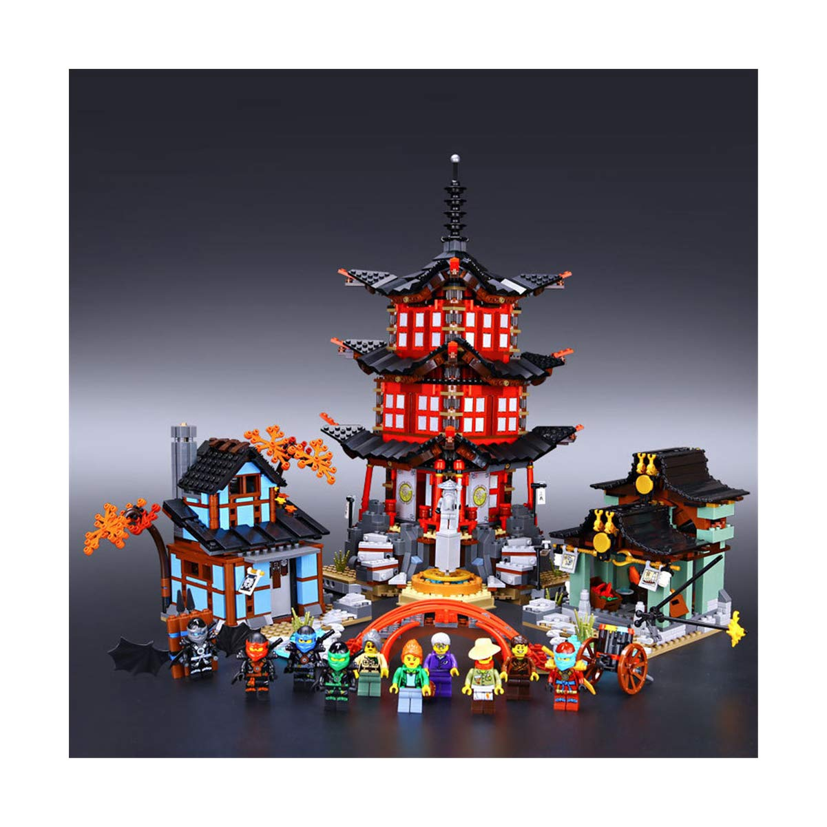 Ninja Temple Village Reunido con Bloques de Juguete