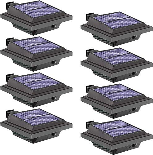 Solar Lights Outdoor, 8 Packs Fence Gutter Solar Lights 40 Led 2W Light Sensing Auto On Off Solar Powered Lights for Garden, Yard, Fence, Wall, Roof Cold-white Light