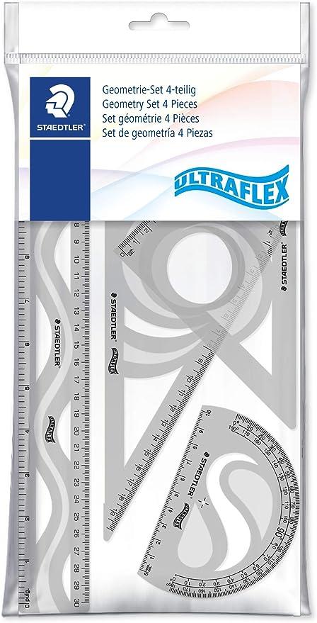 Staedtler Ultraflex 569PB4UF-S. Set de reglas y transportador para dibujo técnico. Conjunto con 4 piezas de plástico de color variado.: Amazon.es: Oficina y papelería