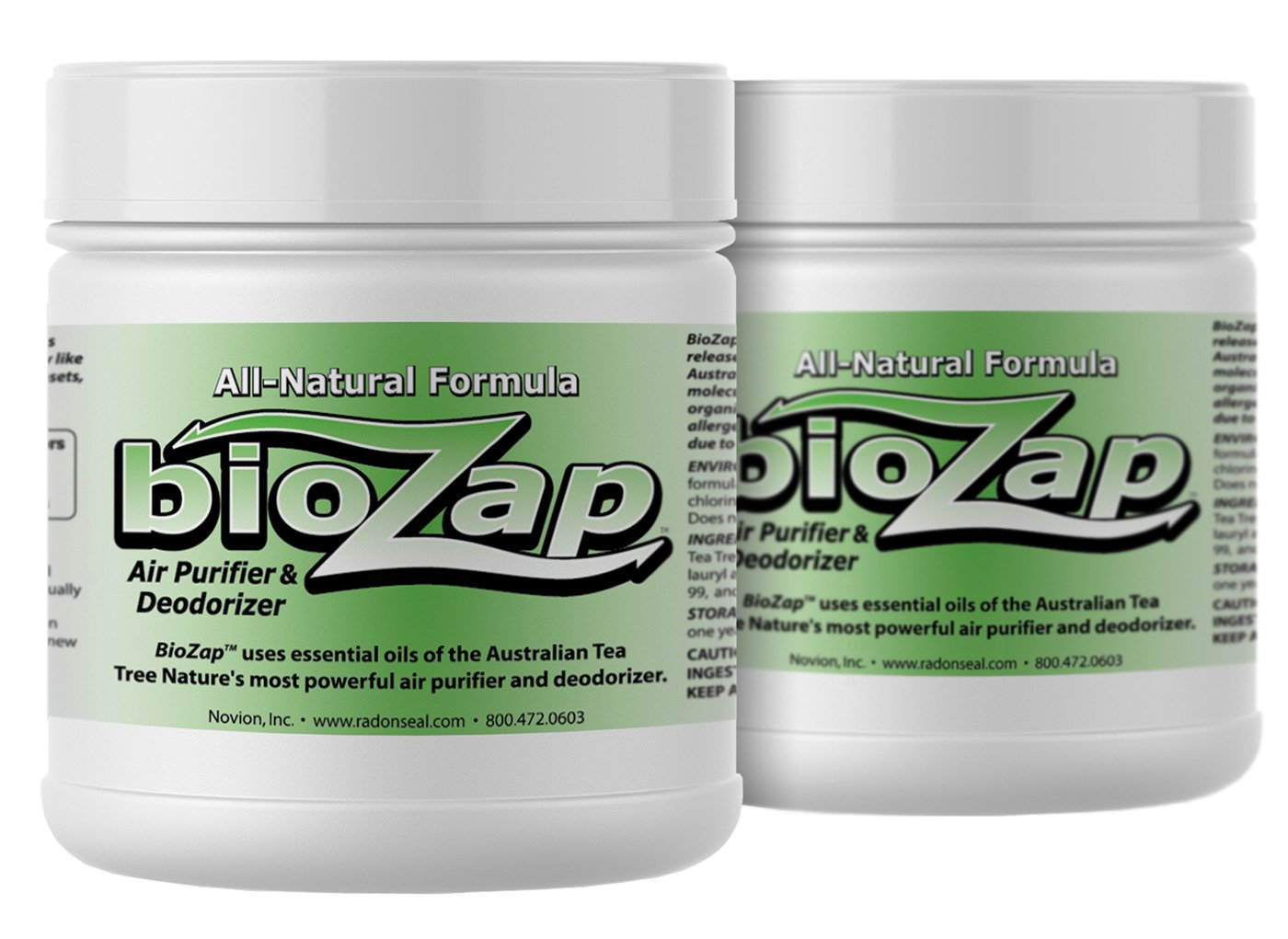 RadonSeal BioZap Air Purifier & Deodorizer 2-Pack | Pharmaceutical-Grade Australian Tea-Tree Oil | Naturally Cleans Odors | Basements, Crawlspaces, Boats, Gyms & More | Natural Scent by RadonSeal