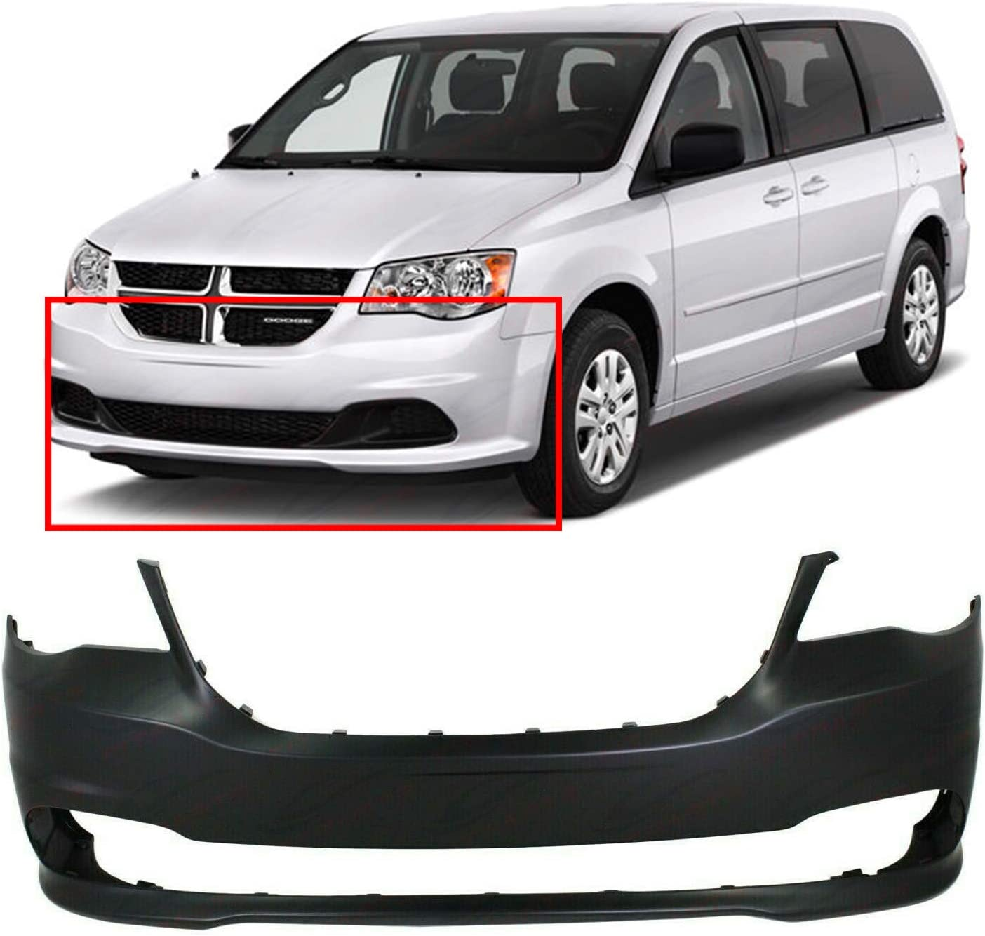 Primed Front Bumper Cover Fascia for 2011-2018 Dodge Grand Caravan 68088966AA