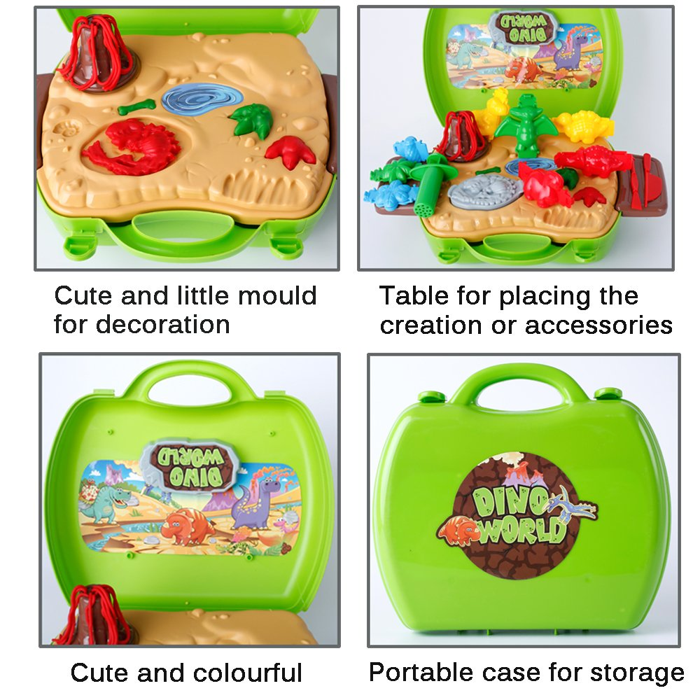 Deardeer Kids Play Dough Dinosaur Play Set 26 Pcs Pretend Play Toy Kit with Dough and Moulds in a Portable Case thebestchoice2016