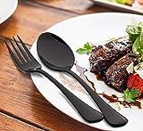 6 Piece Dinner Fork Set Black Stainless Steel Table