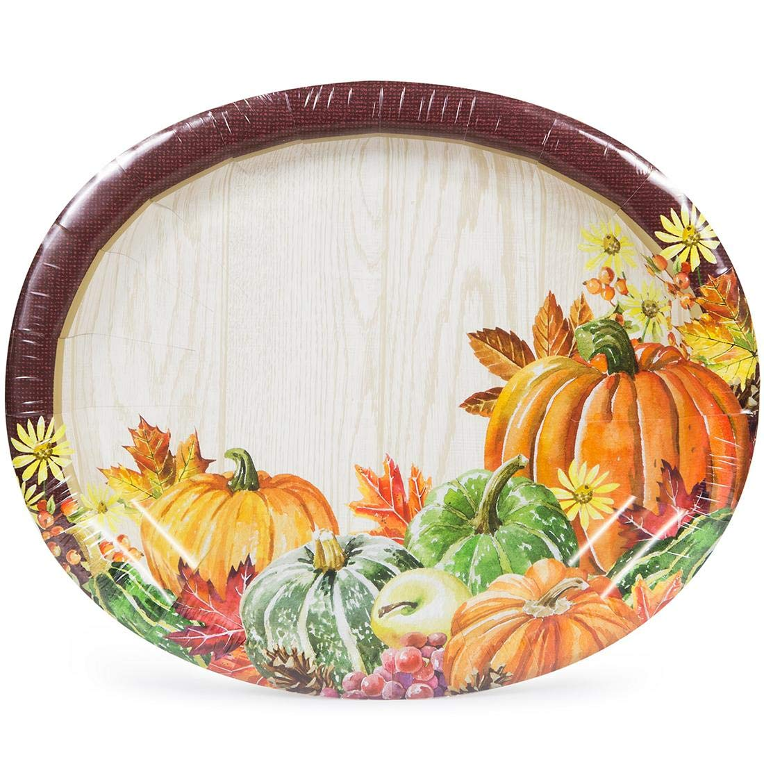 Large Thanksgiving Oval Paper Plates Heartland Fall Harvest 35-Ct Package by ArtStyle