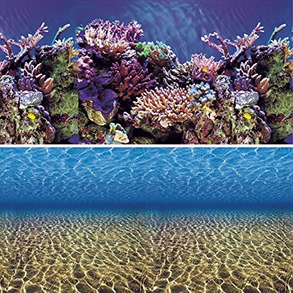 Vepotek Aquarium Background Ocean Seabed /Coral Reef Double sides (48WX24H) by Vepotek