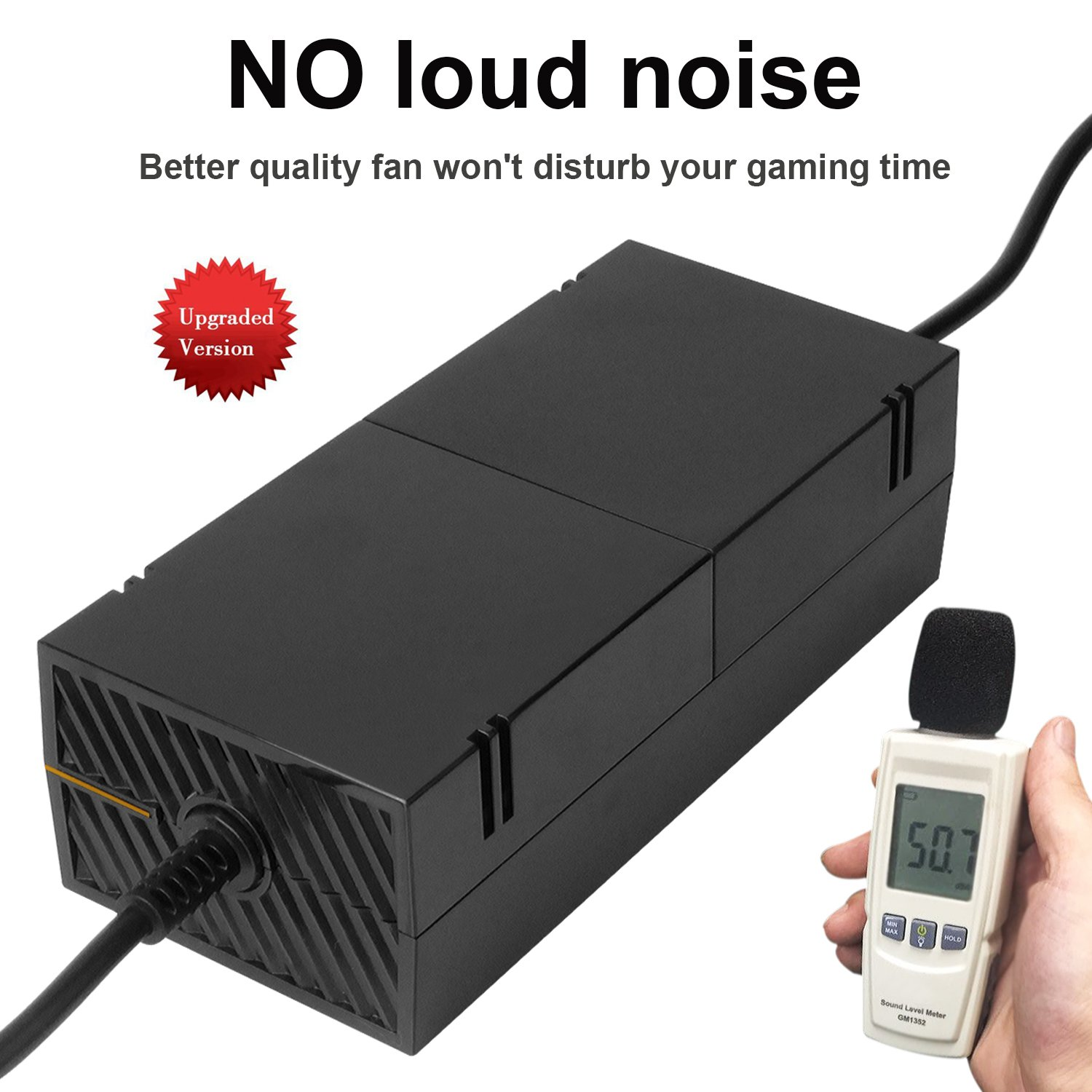 Xbox One Power Supply Brick,[NEWEST QUIETEST VERSION] AC Adapter Power Cable Charger Cord Replacement Kit for Xbox One Auto Voltage 100-240V, Black