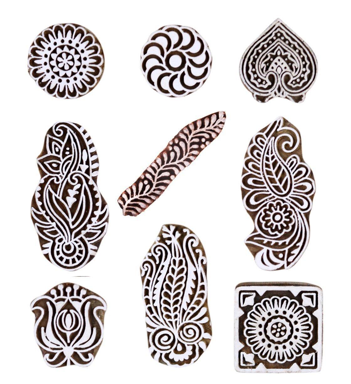 JGARTS Printing Stamps Mughal Design Wooden Blocks (Set of 9) Hand-Carved for Saree Border Making Pottery Crafts Textile Printing Handmade INDIA