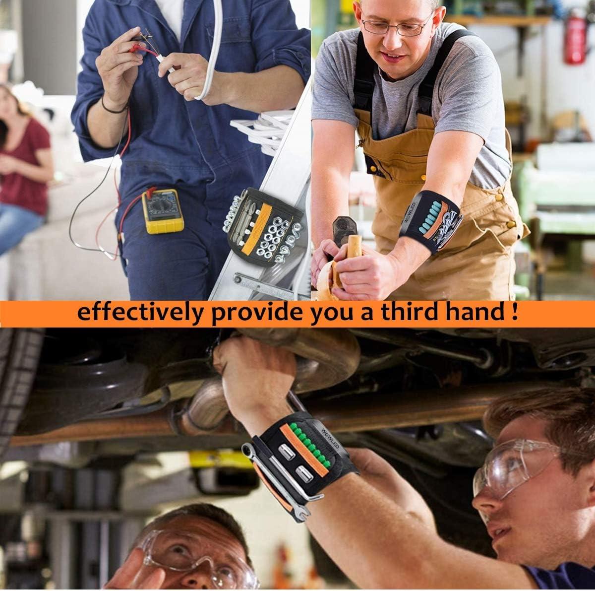gadgets clous cadeau pour homme forets porte-outils magn/étique pour vis Wwled Bracelet magn/étique magn/étique pour homme avec aimants puissants et 2 poches
