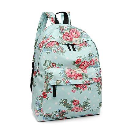 bb6f0665 Miss Lulu School Backpacks Canvas Bookbag Cute Printed Leisure Backpack for  Teenage Girls (1401F Blue