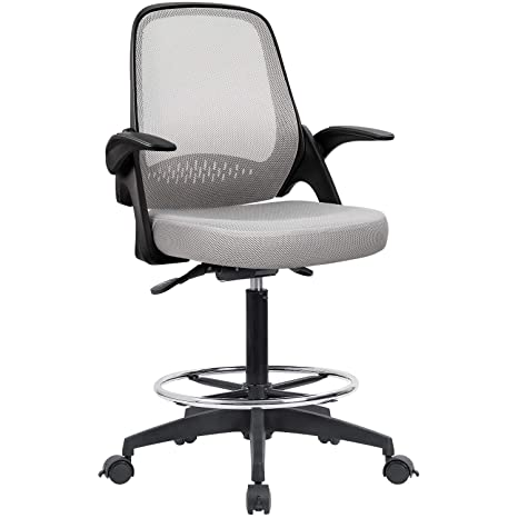 Phenomenal Devoko Drafting Chair With Flip Up Armrests Tall Office Chair Executive Computer Standing Desk Chair With Lockable Wheels And Adjustable Footrest Ring Inzonedesignstudio Interior Chair Design Inzonedesignstudiocom