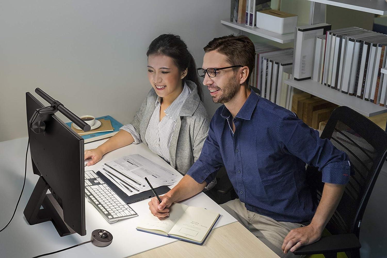 Augenpflege Kein Bildschirm Blendung oder Flimmern BenQ ScreenBar Plus E-Reading-LED-Task-Lampe Schreibtischlampen mit Auto-Dimmen und Farbton-Anpassungsfunktionen USB aufladen B/üro Lampe