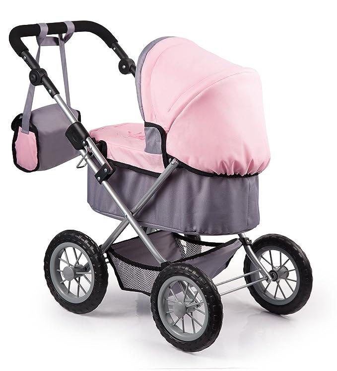 Amazon.com: Bayer Design 1300800 Trendy Doll Pram, Grey/Pink: Toys & Games