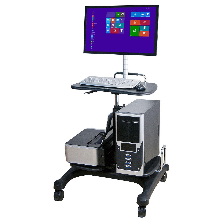 Altezza regolabile Compact mobile PC workstation cart