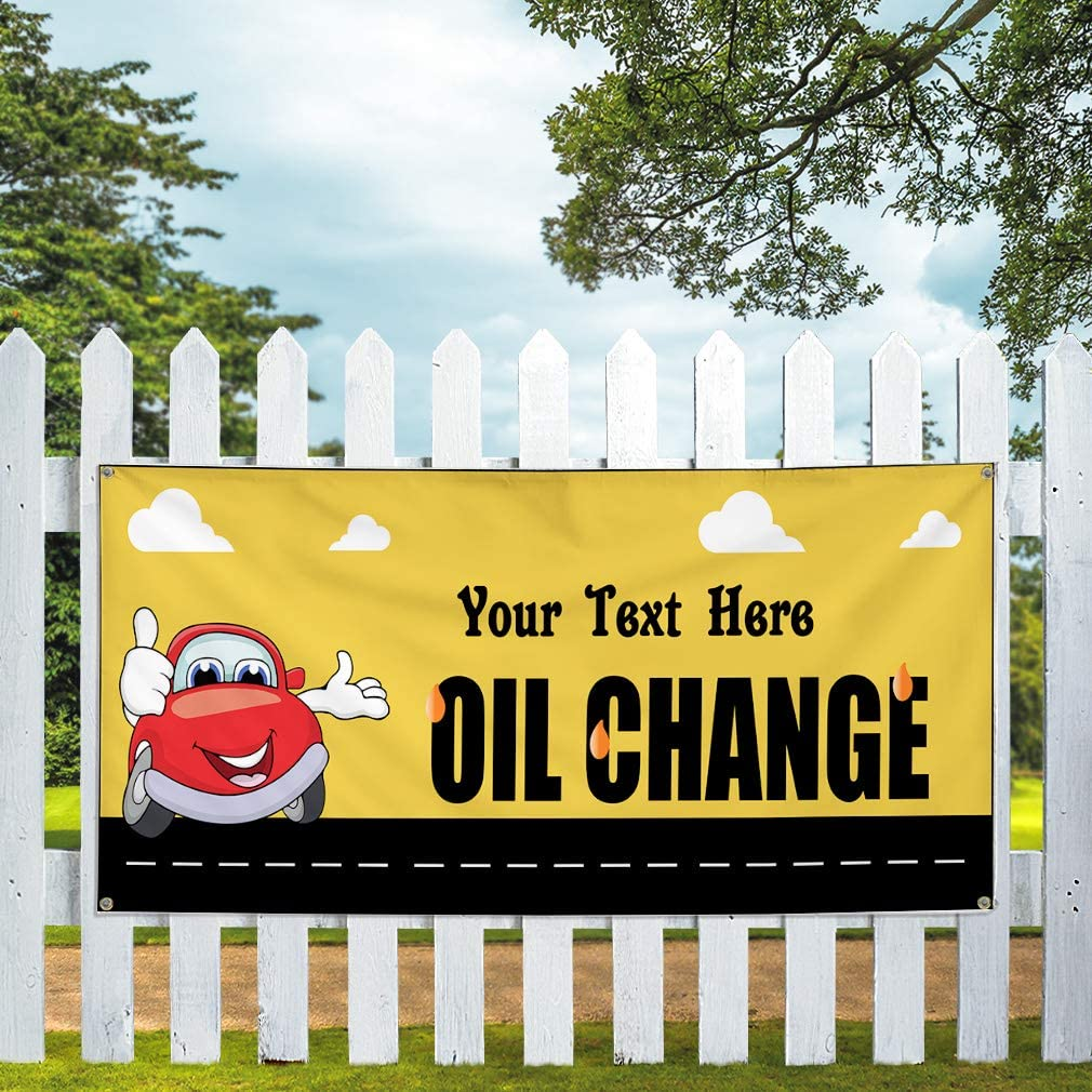 Custom Industrial Vinyl Banner Multiple Sizes Oil Change Style A Personalized Text Here Automotive Outdoor Weatherproof Yard Signs Yellow 8 Grommets 44x110Inches