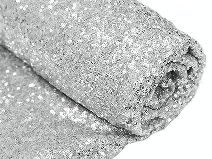 1 Patio, tela de lentejuelas, color plata brillante lentejuelas mantel para boda/mesa