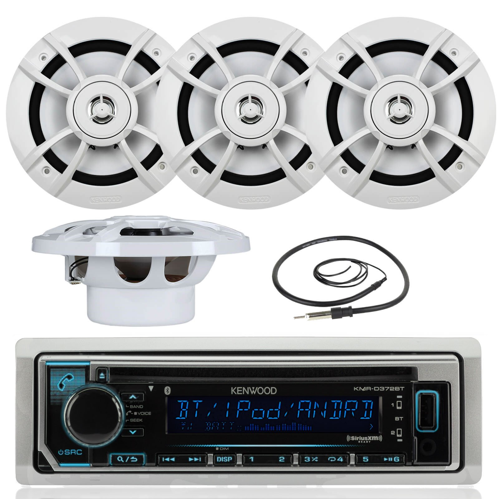 Great New Kenwood Marine Boat Yacht Outdoor Bluetooth Stereo CD MP3 Player USB iPod iPhone Pandora AM/FM Reciver, 4 X Kenwood 6.5'' Inch Waterproof Speakers Enrock Antenna - Marine Audio Kit by Kenwood Enrock