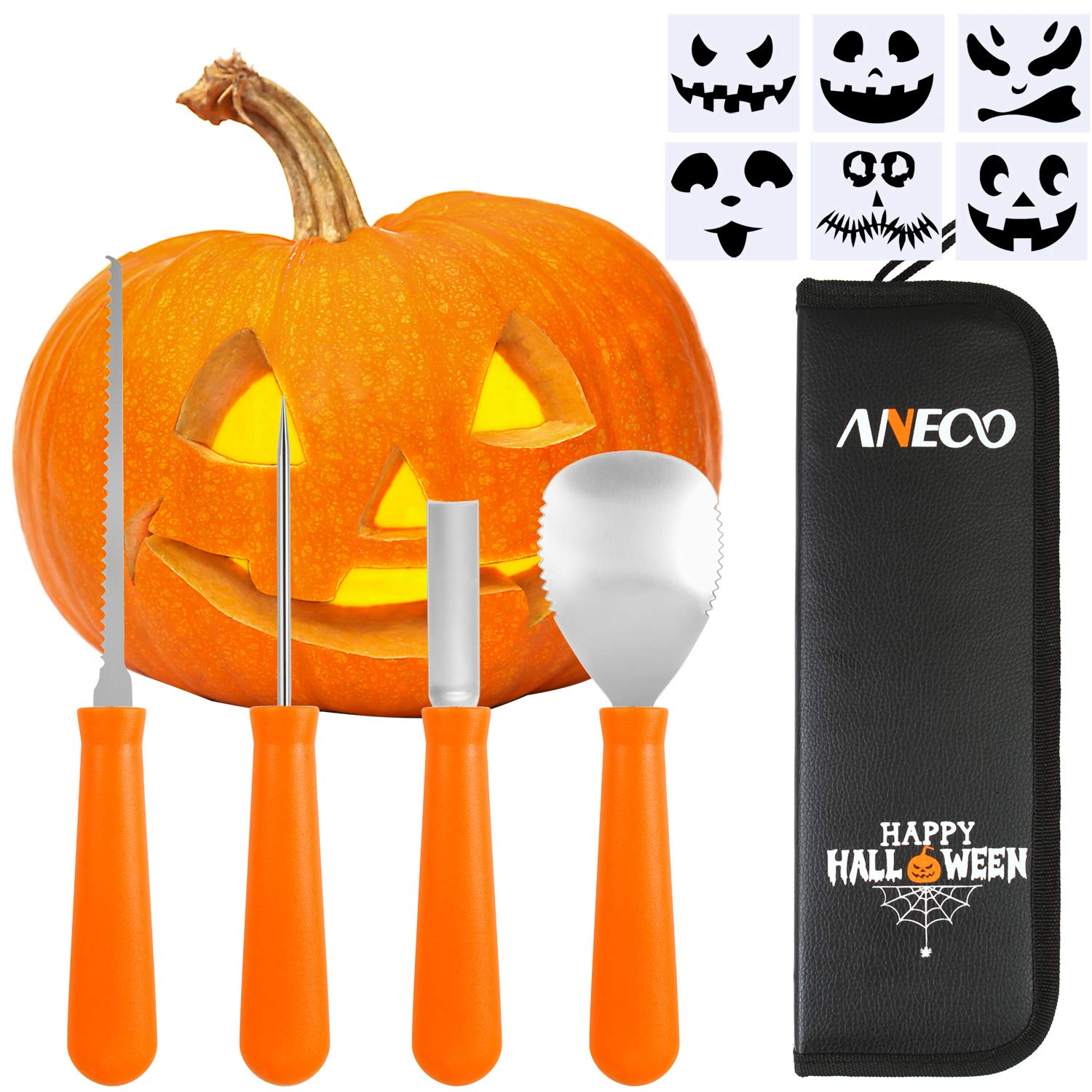 Aneco 4 Pack Halloween Pumpkin Carving Kit Stainless Steel Pumpkin Carving Tools with 6 Pumpkin Carved Stickers and Storage Bag for Halloween Party