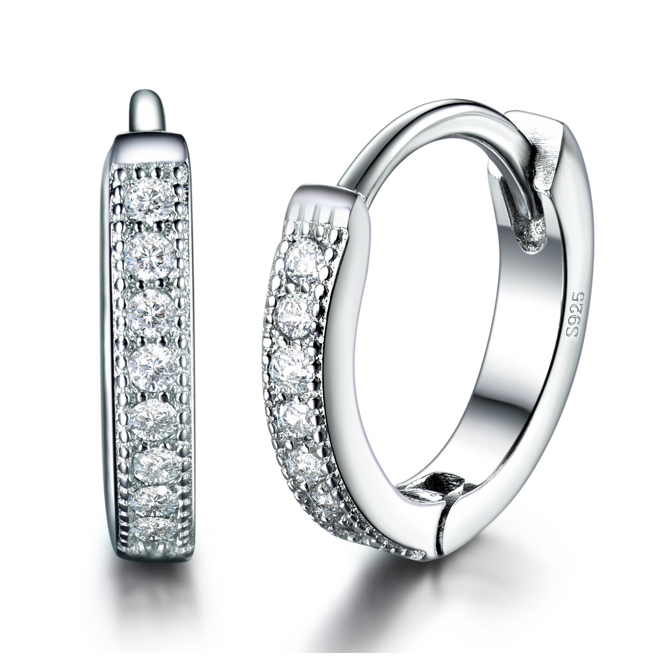 MASOP Women Girls 925 Sterling Silver 13mm Round Tiny Hoop Earrings for Cartilage