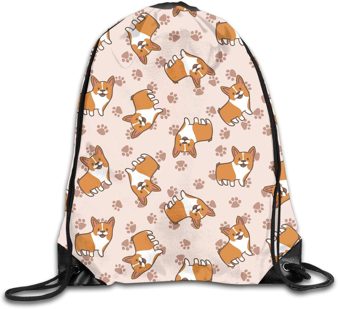 Drawstring Backpack Corgi Gym Bag