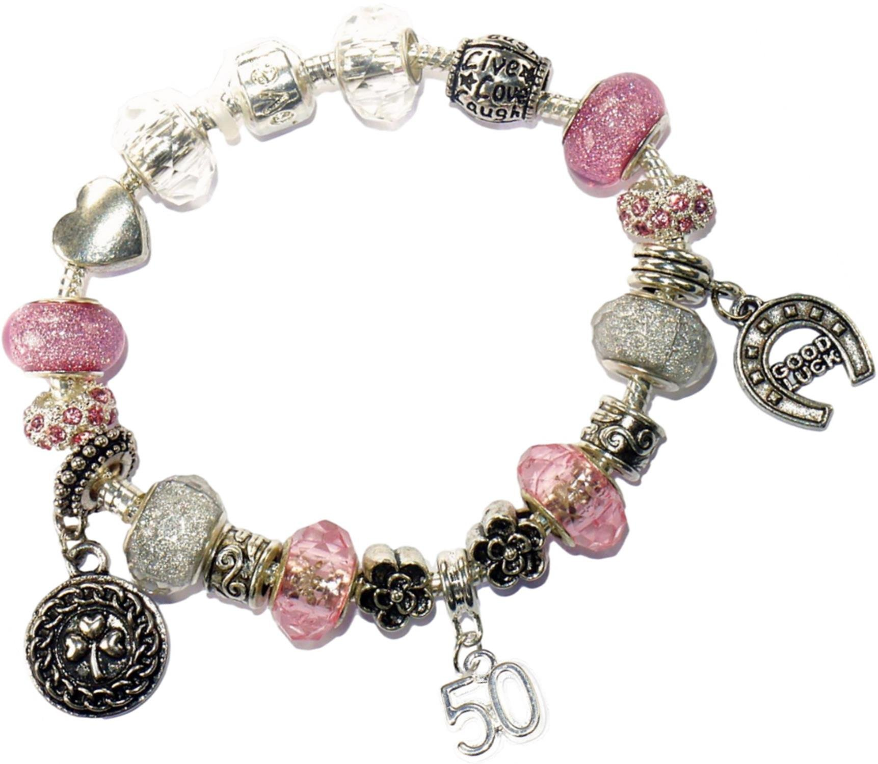 Charm Buddy 50th Birthday Pink And Silver Pandora Style Bracelet With Charms Gift Box Jewelry