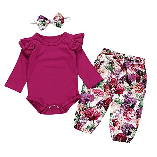 ac0e42e6b366 Baby Girl Floral Romper Outfits Long Sleeve Bodysuit + Pants+Headband  Autumn Clothes Set (