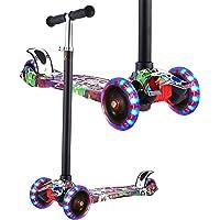 Hikole Foldable Adjustable 3 Wheel Mini Kick Scooter with LED Light Up Wheels (Black&Purple)