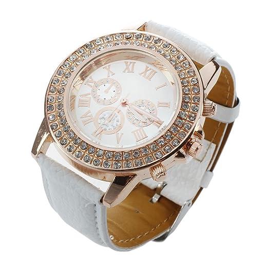 Mujeres Reloj - Geneva Reloj para mujeres, correa de cuero color blanco: Amazon.es: Relojes