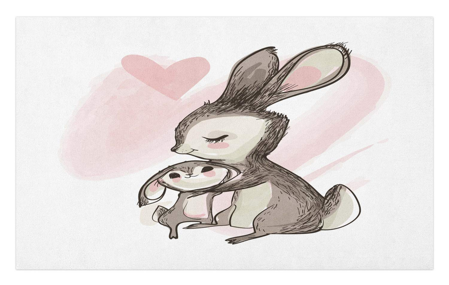 Ambesonne mothers day doormat sketch artwork of a young bunny with his mom happy theme decorative polyester floor mat with non skid backing