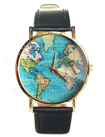 old map blue ocean world map earth women ladies oversized black leather watch