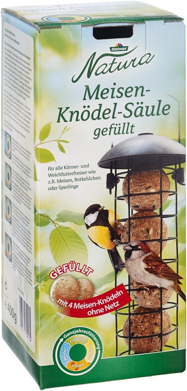 Dehner Natura - Comida para pájaros Silvestres, Columna para Cebo con 4 cajones, rellenable, Metal, Color Negro