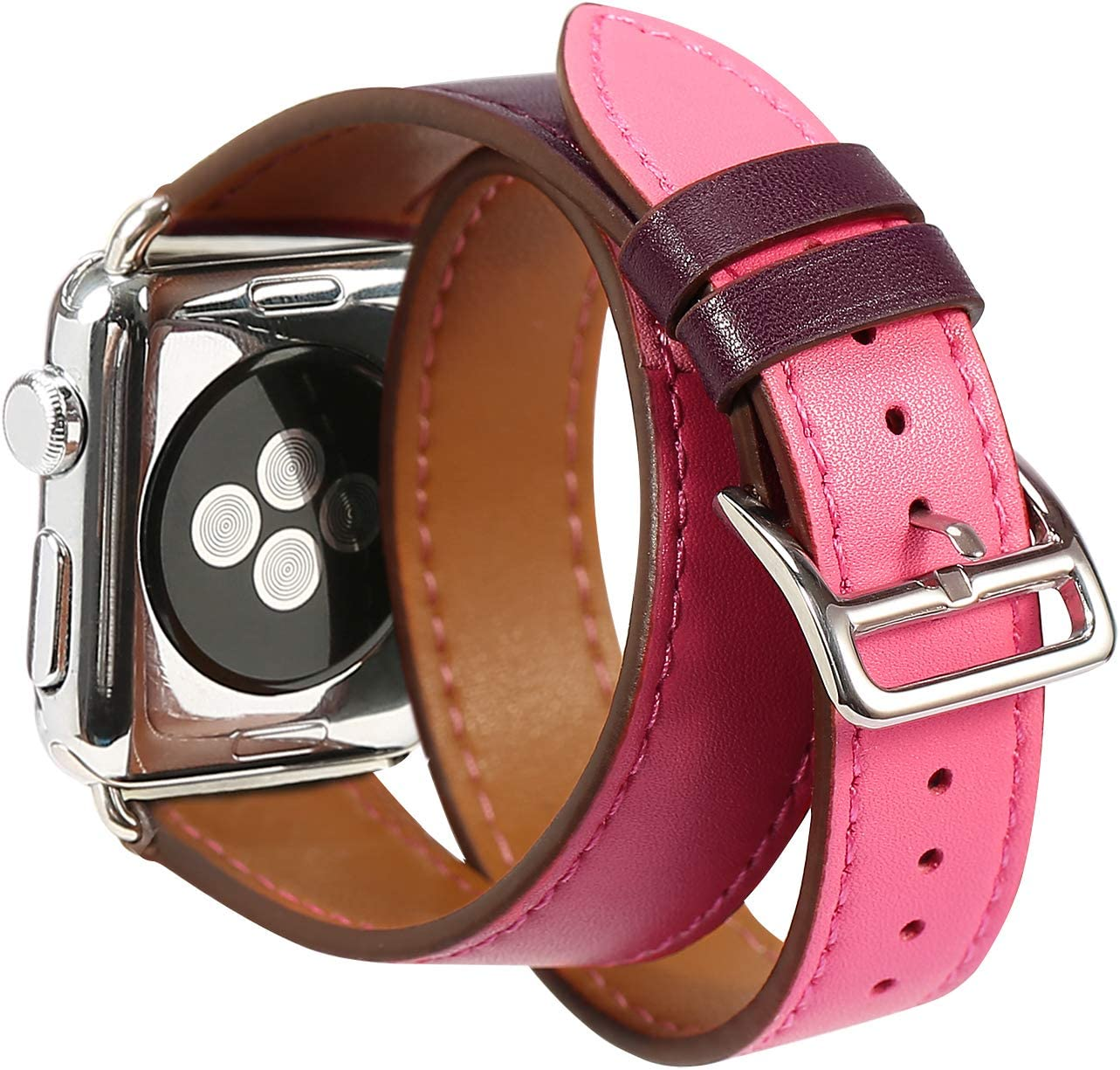 Compatible Apple Watch Band 38mm Genuine Leather Double Tour iwatch Bands Series 1 2 3 for Women Designer Replacement Strap for Apple iPhone Watch - Pink & Purple
