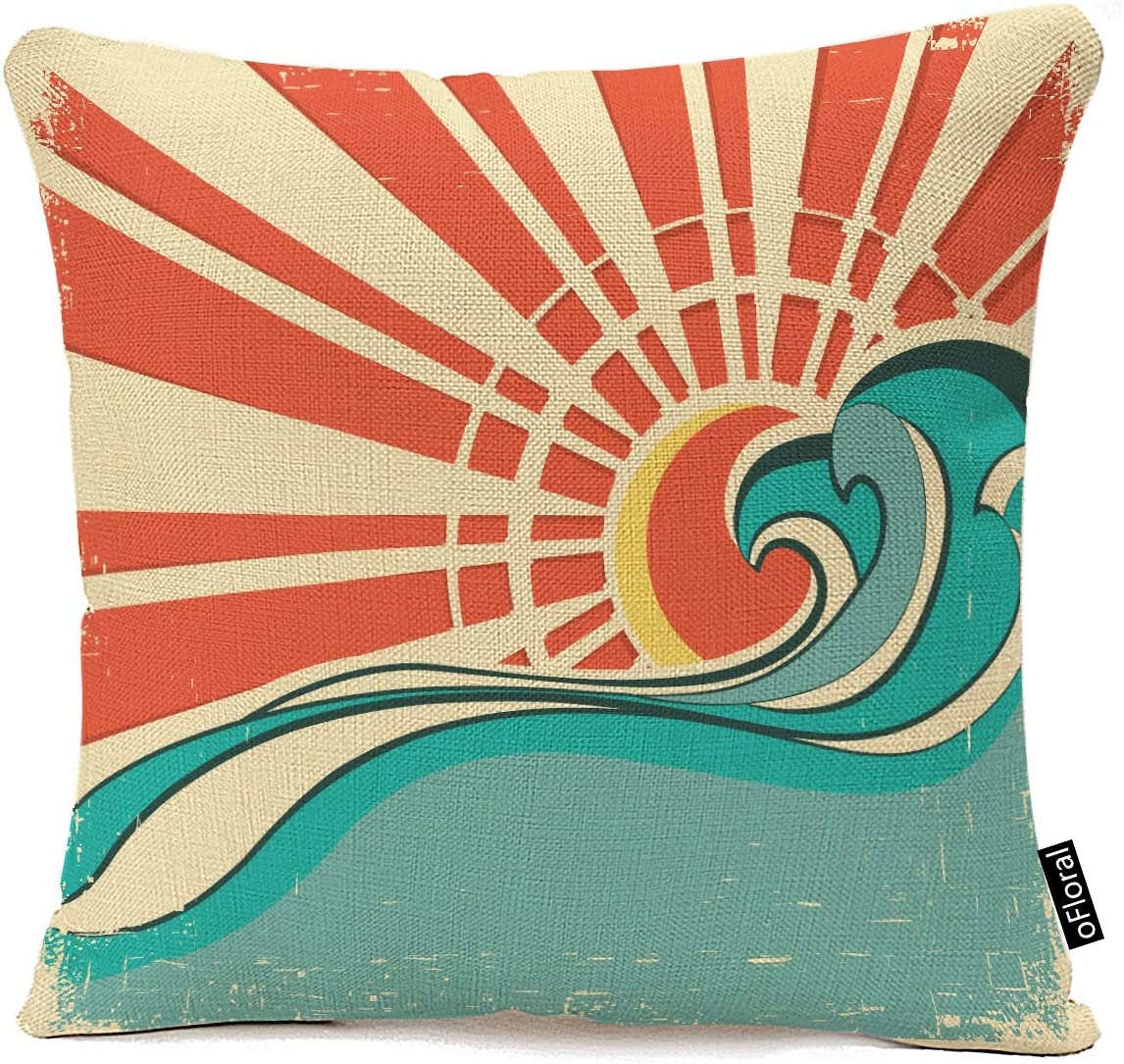 oFloral Throw Pillow Covers Blue Surf Sea Waves Vintage of Nature with Sun Retro Beach Throw Pillow Case Home Decor Square Cotton Linen Pillowcase 18x18 Inches
