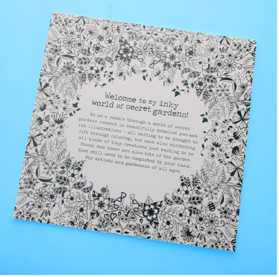 Oulensy 24 Páginas jardín Secreto Inglés Edición Libro de colorante para los Hijos Adultos aliviar el estrés Matar el Tiempo Pintura Dibujo Libro: Amazon.es: Hogar