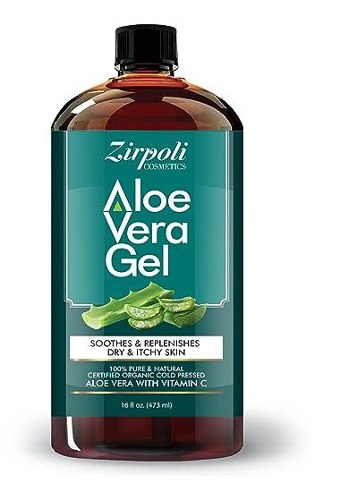 Zirpoli Cosmetics 100% Natural Aloe Vera Gel – 99 7% Certified Organic Aloe  With Potassium