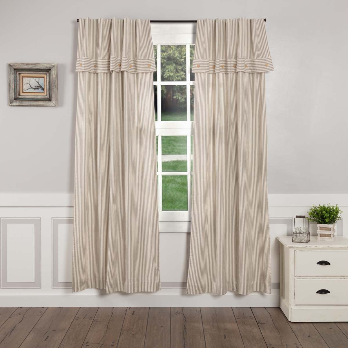 Piper Classics Farmhouse Ticking Stripe Taupe Panel Curtains, Set of 2, 96 Long, Attached Valance w Button Accents, Long Drapes