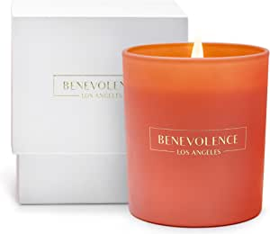 Premium Scented Candles, Soy Candles | Luxury Candles with A Fresh Scent of Orange Blossom Lotus | 45 Hour Burn, Long Lasting, Highly Scented, & All Natural Aromatherapy Candle with Pink Glass Jar