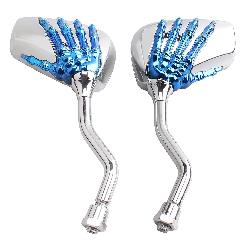 Universal Fit Chrome Skull Skeleton Side Mirrors Rare Mirror for Motorcycle Moto Bike 10mm 8mm Thread Bolts For Suzuki Honda Kawasaki Yamaha Victory red