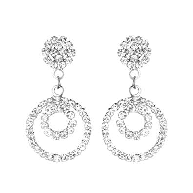 b85b3fda7 Image Unavailable. Image not available for. Colour: Shining Jewel Elegant  Silver Plated Crystal CZ American Diamond Dangle Drop Designer Earrings ...